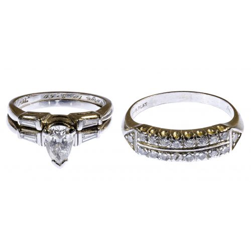 Platinum and Diamond Engagement and Wedding Band Rings