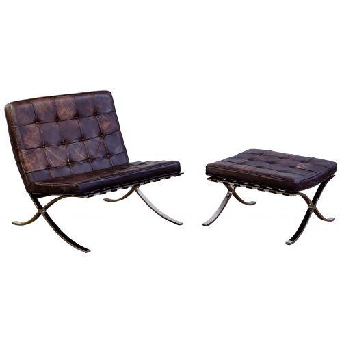 Mies van der Rohe for Knoll Barcelona Chair and Ottoman
