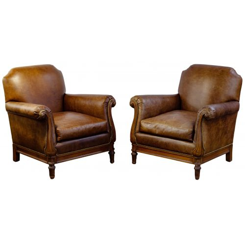 Mike Bell Leather Club Chairs
