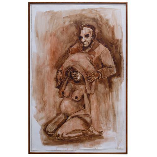 "Kara Walker (American, b.1969) Untitled (""Lincoln"") Gouache on Paper"