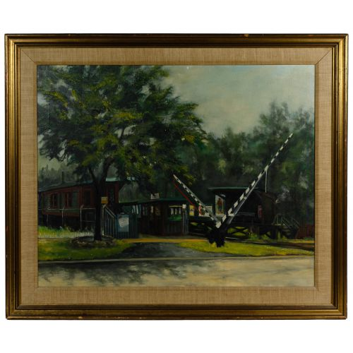 """Unknown Artist (American, 20th Century) """"Train Station"""" Oil on Canvas"""
