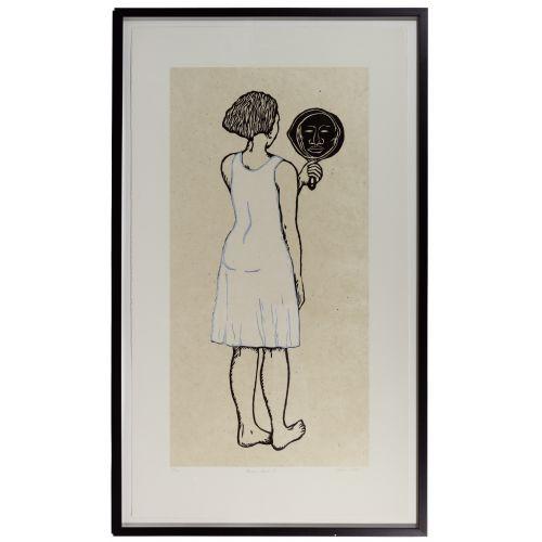 "Alison Saar (American, b.1956) ""Mirror Mirror II: Mulatta Seeking Inner Negress II"" Woodcut on Chine Colle"