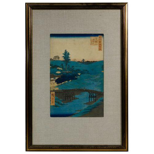 "Hiroshige (Japanese, 1797-1858) ""Hiroo"" Woodblock Print"