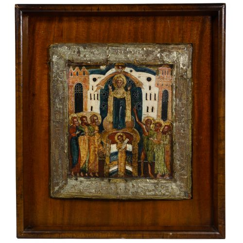 """Russian Wood Icon """"Protection of the Mother of God"""""""