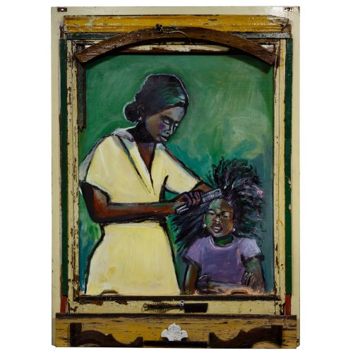 """Wayne Manns (American, 20th Century) """"Mother and Daughter"""" Acrylic and Found Objects on Panel"""