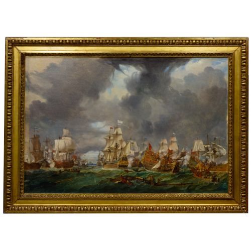 European School (19th Century) Naval Engagement Oil on Canvas