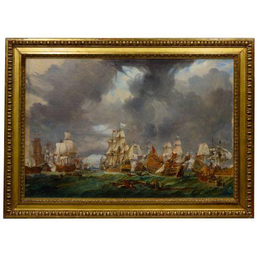 European School (19th Century) Naval Engagement Oil on Canvas