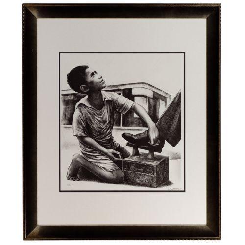 "Elizabeth Catlett (American / Mexican, 1915-2012) ""Shoe Shine Boy"" Lithograph"