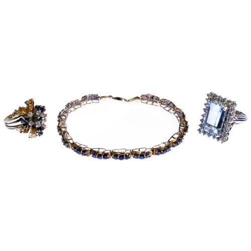 14k White and Yellow Gold and Semi-Precious Gemstone Jewelry Assortment