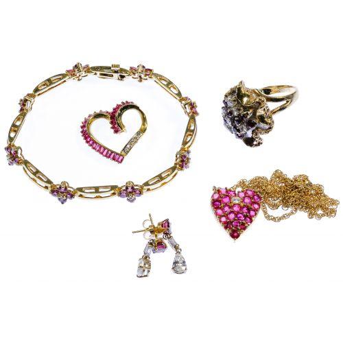 14k Yellow Gold, Ruby and Diamond Jewelry Assortment