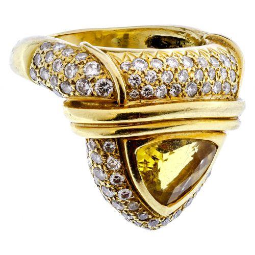 18k Gold, Yellow Tourmaline and Diamond Ring