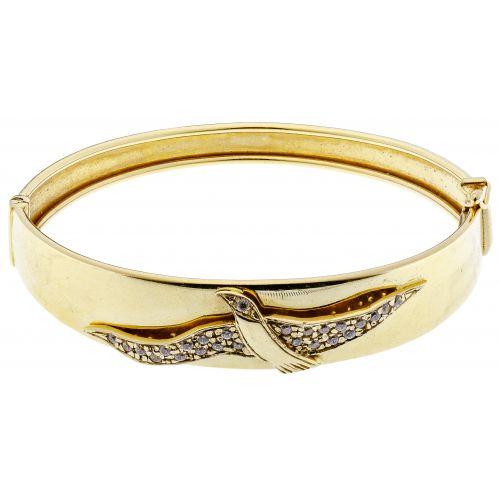 18k Yellow Gold and Crystal Hinged Bangle Bracelet