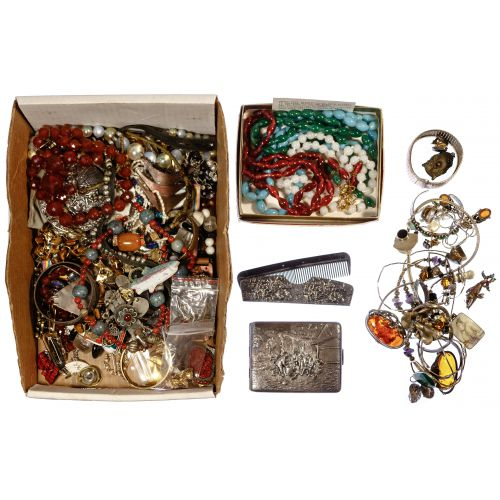 Sterling Silver, Peking Glass and Costume Jewelry Assortment