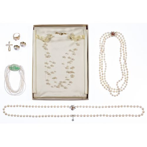 14k White Gold, 14k Yellow Gold and Pearl Jewelry Assortment