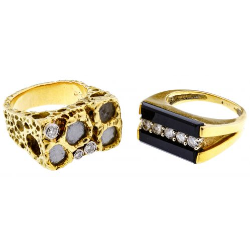 18k Gold, Onyx and Diamond Rings