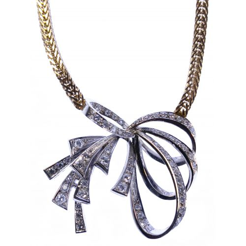 14k White and Yellow Gold and Diamond Necklace