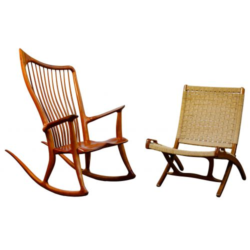 Dave Hentzel Rocking Chair and Danish Modern Style Folding Chair