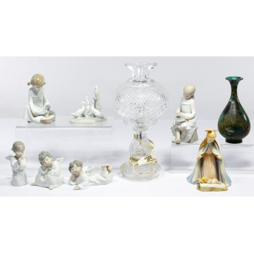 Lladro Figurine and Waterford Crystal Lamp Assortment
