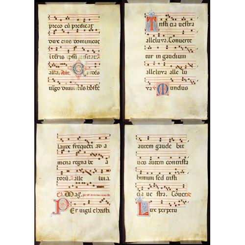 Illuminated Antiphonal Vellum Hymnal Sheets