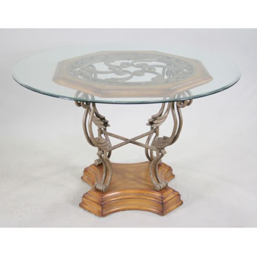 Wrought Iron & Wood Base Table with Glass Top