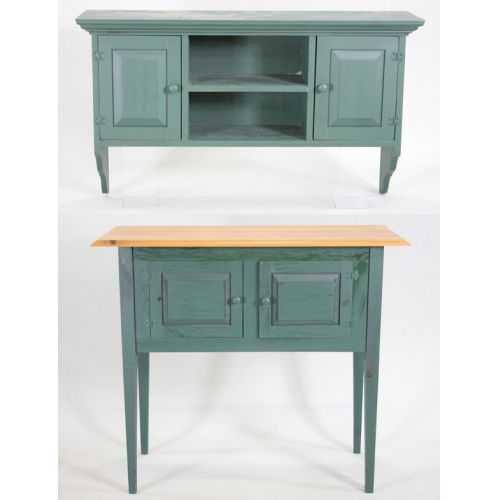Painted Pine Cabinet with Hanging Shelf