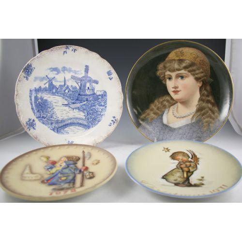 (4) Vintage Collector Plates in Hummel, Delft, Portrait