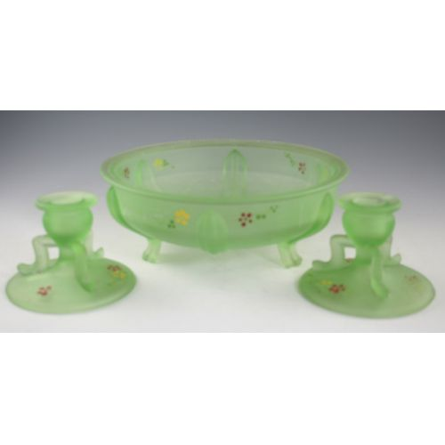 Green Satin Glass Console Set