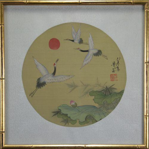 Oriental Paintings on Silk - Birds