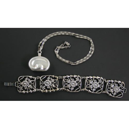 Sterling Silver Bracelet & Perfume Bottle Necklace