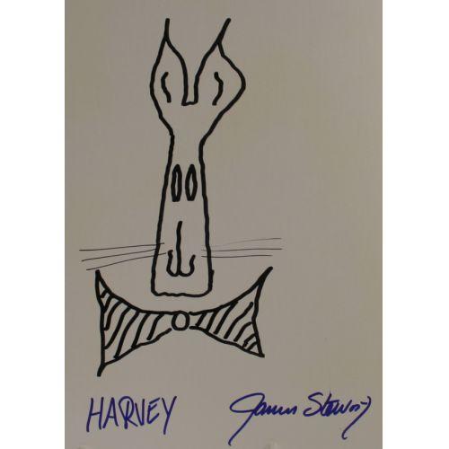 "James Stewart ""Harvey"" Autographed Sketch"