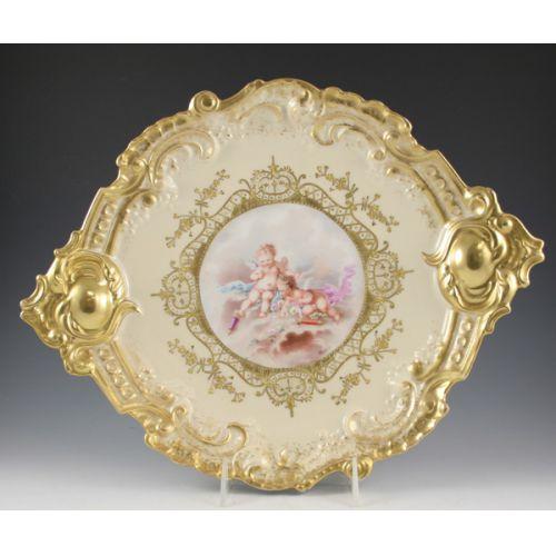 JS&S Limoges Gilded Platter with Cherubs Signed Nexon