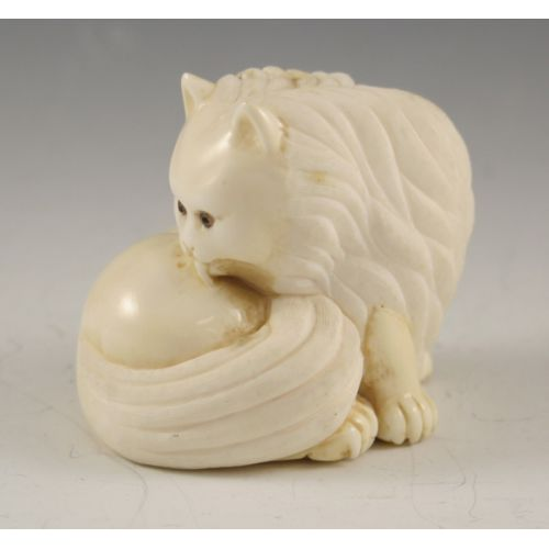 Carved Ivory Cat Figurine