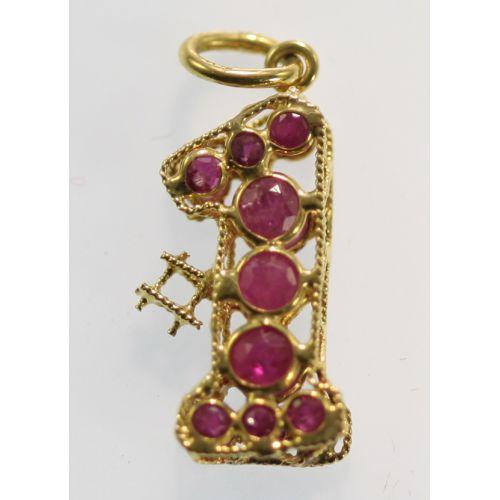 Pair of Pendants - Gold & Semi-precious Stones