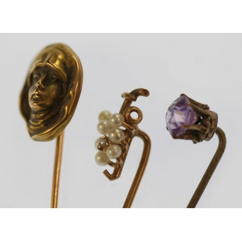 (2) 14k Gold Lapel Pins w Amethyst Lapel Pin