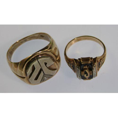 10k Gold Signet Ring & 14k Gold School Ring