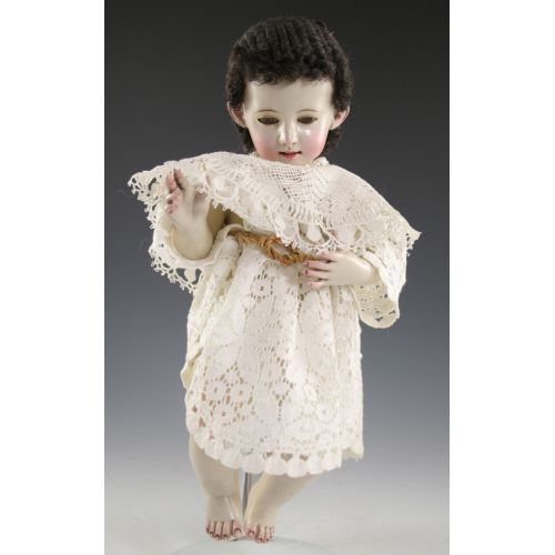 Artist Signed Infant of Prague Dressed in Lace Doilies