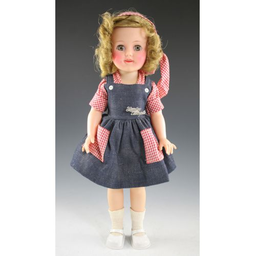 Shirley Temple Doll Dressed in Denim & Checks