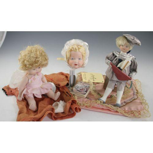 (2) Small Dolls, Doll Head Ornament, Accessories