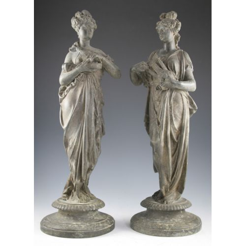 (2) Spelter Statues in the Form of Lady