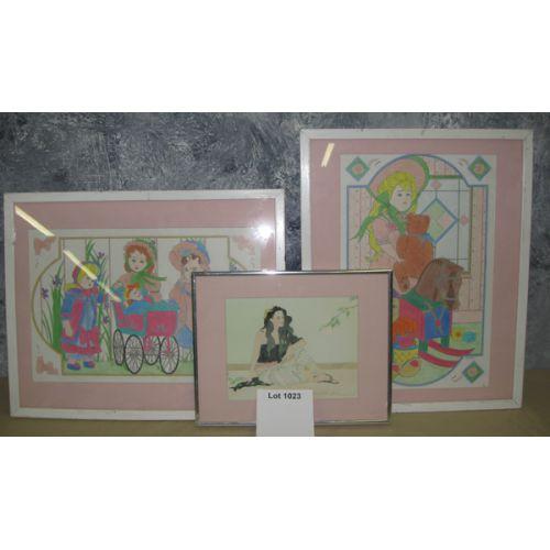 (3) Framed Artwork w Pink Mats