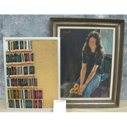 Framed Artwork w Pencil Cork Board