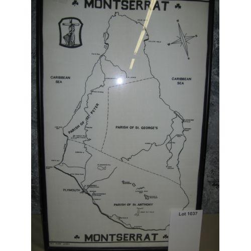 Linen Map of Montserrat, Caribbean