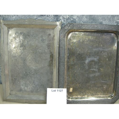 (2) Heavy Silver Plate Serving Trays