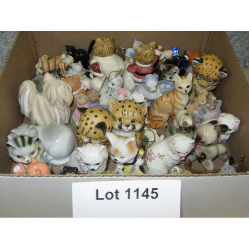 Box of Ceramic Cat Figurines