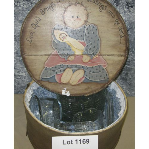 Wood Box W/Glassware