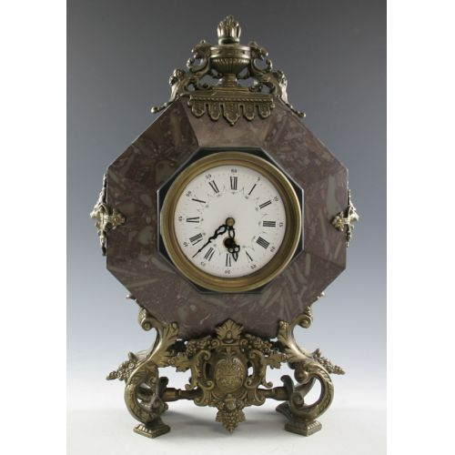 Marble & Cast Metal Mantle Clock