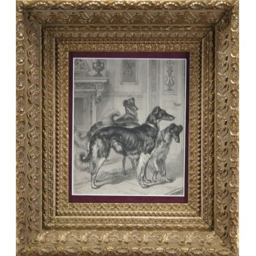 Antique Frame with Wolf Hounds Print