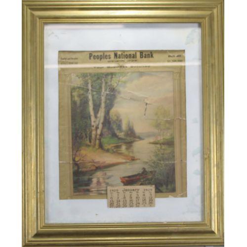 1929 Bank Calendar - Framed