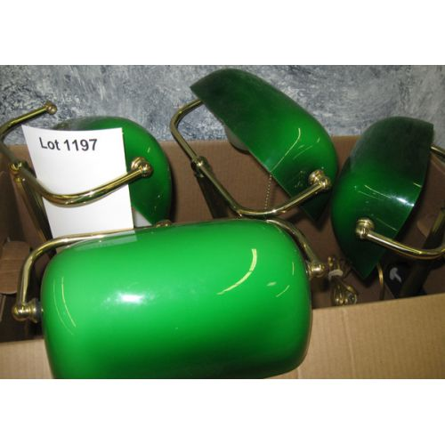 (4) Green Shade Desk Lamps