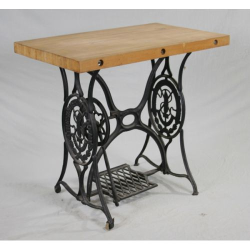 Singer Sewing Machine Base with Butcher Block Top